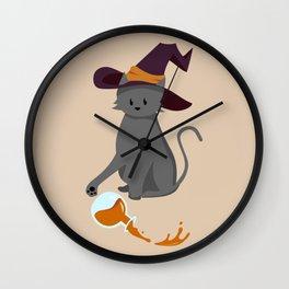 Mischievous Witch's Cat Wall Clock