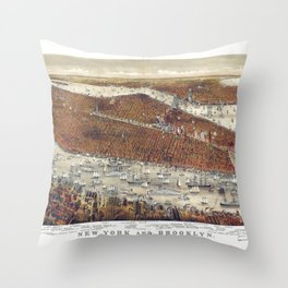 Aerial View of New York and Brooklyn, with Jersey City and Hoboken water front (1877) Throw Pillow