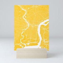 Philadelphia, PA, City Map - Yellow Mini Art Print