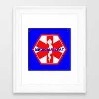 medical Framed Art Prints featuring  MEDICAL ALERT IDENTIFICATION TAG by Sofia Youshi