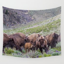 Buffalo On The Move In Yellowstone Wall Tapestry