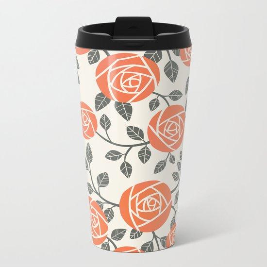 Retro roses Metal Travel Mug