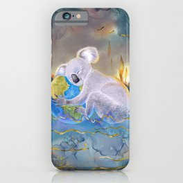 Koala Loves Earth - Australian Surreal Climate Change  iPhone Case