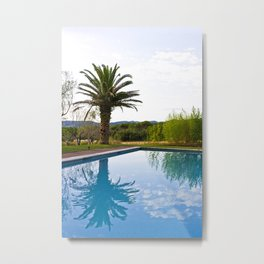 Palm tree Reflected in the Swimming Pool Metal Print
