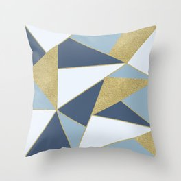 Abstract Blue and Gold Throw Pillow