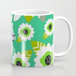 Little fox and strange flowers in green Coffee Mug