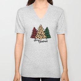 Bullao Plaid Christmas Trees Snow Merry Christmas Trio Leopard Prints Christmas Tree Unisex V-Neck