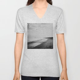 black and white Southwold beach photograph Unisex V-Neck