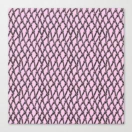 Fishing Net Black on Blush Canvas Print