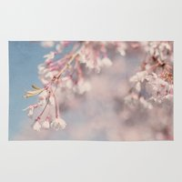 cherry blossoms Area & Throw Rugs featuring Cherry Blossoms by laughlovephoto