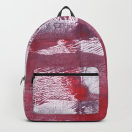 Red purple squares abstract watercolor pattern Backpack