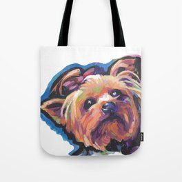 Yorkie Yorkshire Terrier Dog Portrait Pop Art painting by Lea Tote Bag