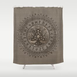 Tree of life with Triquetra Beige Leather and gold Shower Curtain