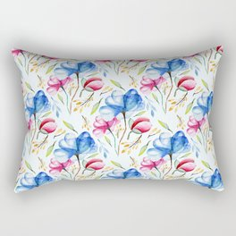 Hand painted pink blue watercolor elegant floral leaves pattern Rectangular Pillow