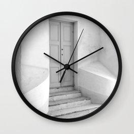 The Grey Door   Monochrome Entrance   Wall Clock
