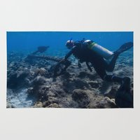 scuba Area & Throw Rugs featuring Scuba Diving Excavation by BravuraMedia