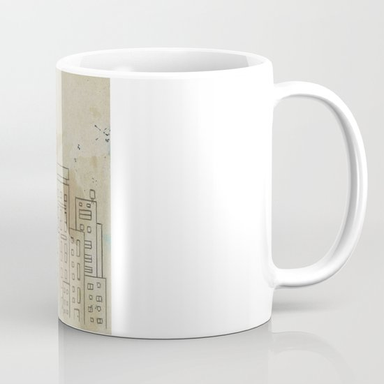 Sketch of buildings in a city that doesn't exist Mug