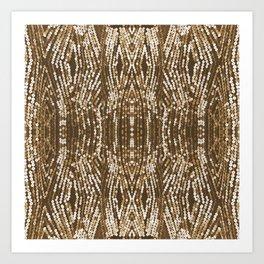 198 - Sepia gold sequins design Art Print