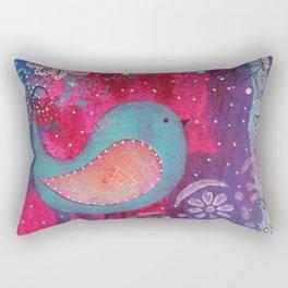 Whimsical Bird Mixed Media Rectangular Pillow