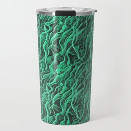 Manta Rays Pattern, Underwater Animals Bioluminescence Sea Green Travel Mug