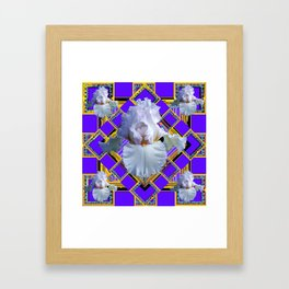ART DECO WHITE IRIS PURPLE ART Framed Art Print