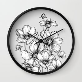 Flowers Black and White Wall Clock