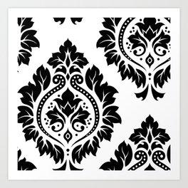 Decorative Damask Art I Black on White Art Print