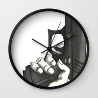 gun Wall Clocks featuring GUN by Takeru Amano