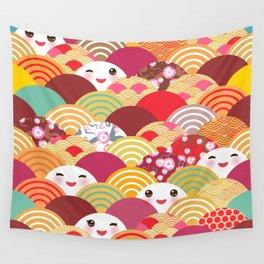 Kawaii Nature background with japanese sakura flower, wave pattern Wall Tapestry