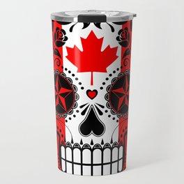 Sugar Skull with Roses and Flag of Canada Travel Mug