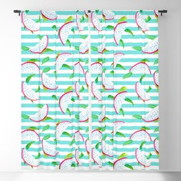 Dragonfruits and turquoise stripes Blackout Curtain