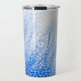 Mandala Feather Blue Travel Mug