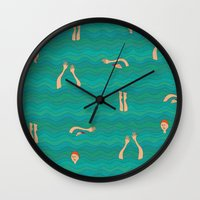 swimming Wall Clocks featuring Swimming by Mimi