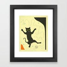 BLACK CAT WITH STRING Framed Art Print