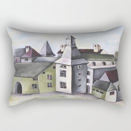 Pop Surrealism Watercolor Artwork with French Provenance Castle in Liege Rectangular Pillow