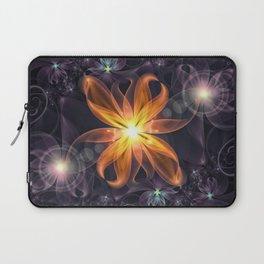 Beautiful Orange Star Lily Fractal Flower at Night Laptop Sleeve
