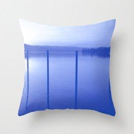 Lake in Blue Throw Pillow