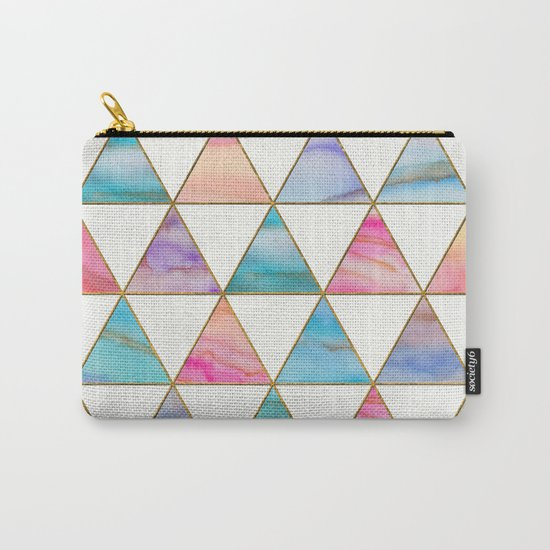 Marble Triangles Pattern Carry-All Pouch