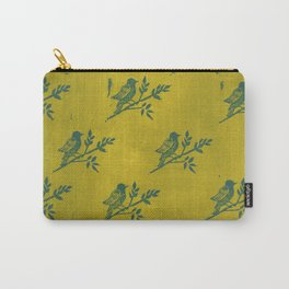 Blue Bird Stamp Print on Olive Green Carry-All Pouch