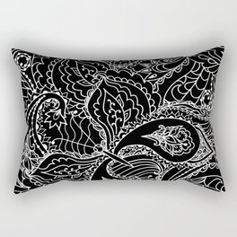 Hand painted abstract black white watercolor floral butterfly Rectangular Pillow