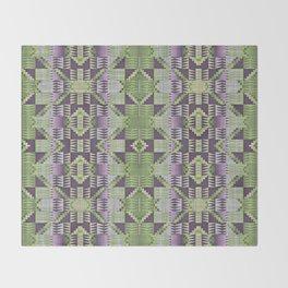 Violet Purple Pink Lime Green Native American Indian Mosaic Pattern Throw Blanket