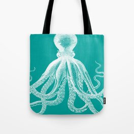 Octopus | Teal and White Tote Bag
