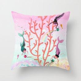 Mermaids' Coral Garden childrens' illustration Throw Pillow