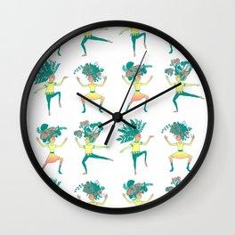 Little dancing shamans print Wall Clock