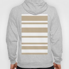 Mixed Horizontal Stripes - White and Khaki Brown Hoody