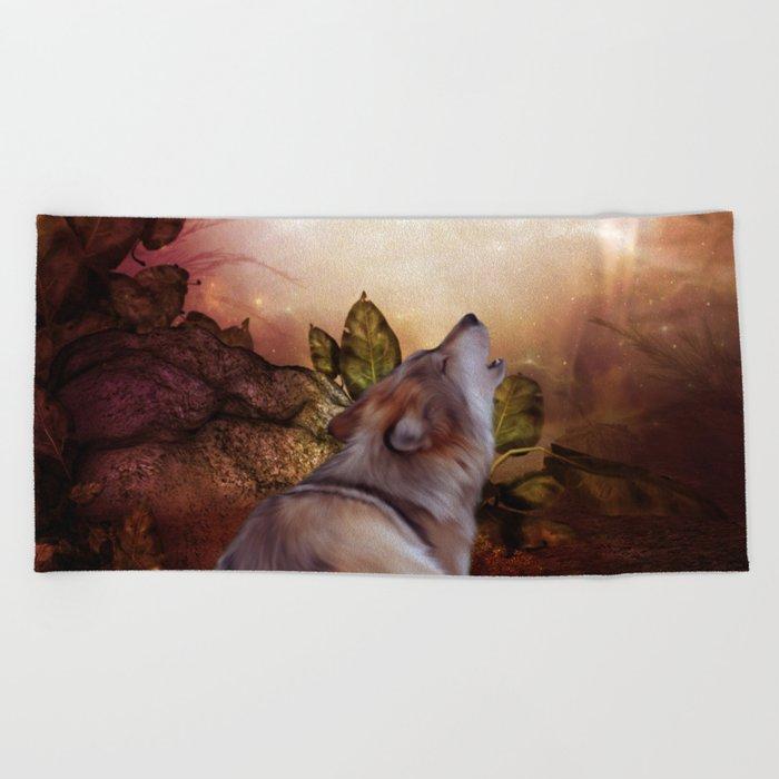 Awesome wolf Beach Towel