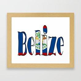 Belize Font with Belizean Flag Framed Art Print