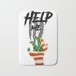 """""""HELP ME"""" American Flag Zombie/scary Movie Gag Gift funny Bath Mat"""