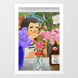 Flower Shop Boy Art Print