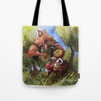 red hood Tote Bags featuring Red Hood by Jose Luis Ocana